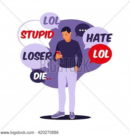 Cyber Bullying Concept. Many Receives Abusive Messages. Vector Illustration. Flat.