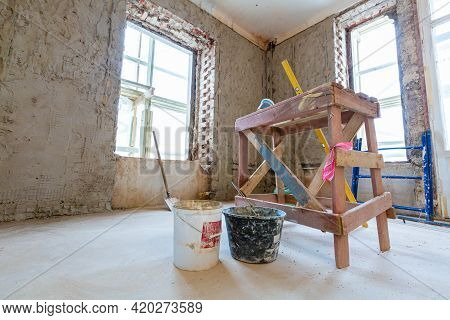 Working Process Of Renovate Room From Wooden Platform In Apartment Is Under Construction, Remodeling