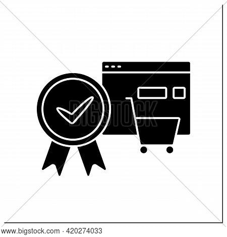 Approve Order Glyph Icon. Online, Offline Shopping. Pending Shopping Cart Requests And Approve Entir