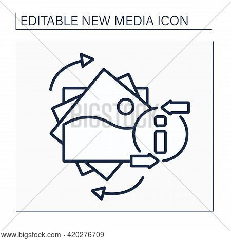 Gifs Line Icon. Graphics Interchange Format. Animated Picture. Information Space. New Media Concept.