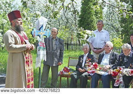 Chernihiv Region - Sosnitsa - Ukraine. 10 May 2010: The Priest Blesses The War Veterans. A Blessing