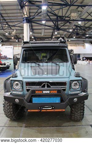 Kyiv / Ukraine. 09 March 2019: Off Road Car Mersedes Benz In Sale At Exhibition. Modern German Car P