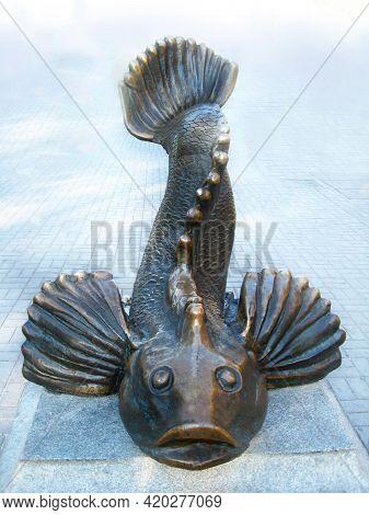 Berdyansk/ukraine 21 June 2012:  Monument To Goby - Breadwinner In Berdyansk. Monument To Fish. Bron