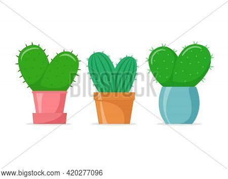 Heart-shaped Cactuses Set In A Flat Style. Cute Home Cacti In Colorful Pots. House Succulents. Vecto
