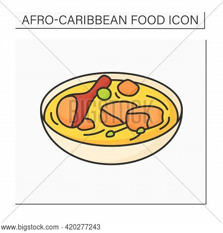 Afro-caribbean Food Color Icon. Fish Pepper Soup. Catfish Dish. Nigerian Traditional Soup. Local Foo