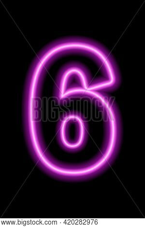 Neon Pink Number 6 On Black Background. Learning Numbers, Serial Number, Price, Place. Vector Illust