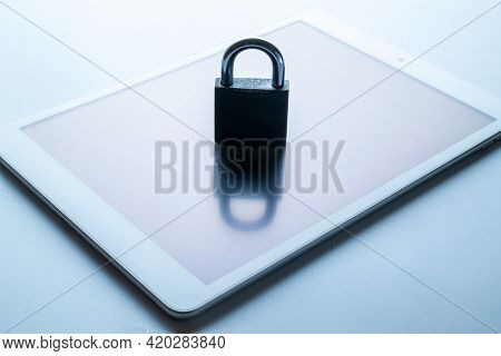 Technology Security. Modern Space Grey Mobile Phone With Padlock, Key On White Background. Smartphon