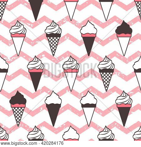 Ice Cream Cones Vector Seamless Pattern, Pink Wave Grunge Background. Retro Food Repetitive Illustra