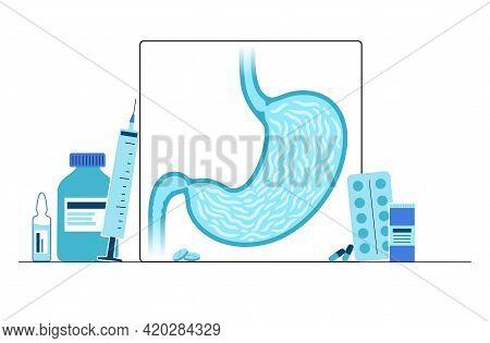 Stomach Logo For Clinic Or Gastroenterologist. Human Internal Organs Medical Examination Concept. Di