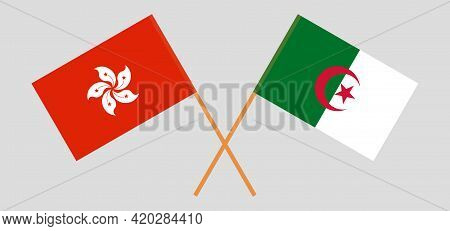 Crossed Flags Of Algeria And Hong Kong