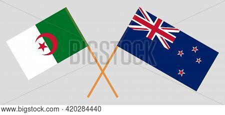 Crossed Flags Of Algeria And New Zealand