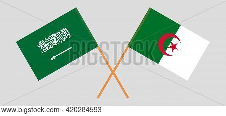 Crossed Flags Of Algeria And The Kingdom Of Saudi Arabia