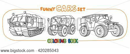 All-terrain Vehicles With Eyes. Car Coloring Book