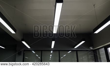 Incandescent Lamp On The Top Of Roof, Abstarct Background Top Roof In Ceiling, Darkness With Light O