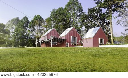 Pink Cottage On Green Lawn Field, Modern House On Green Filed And Nature Tree Background