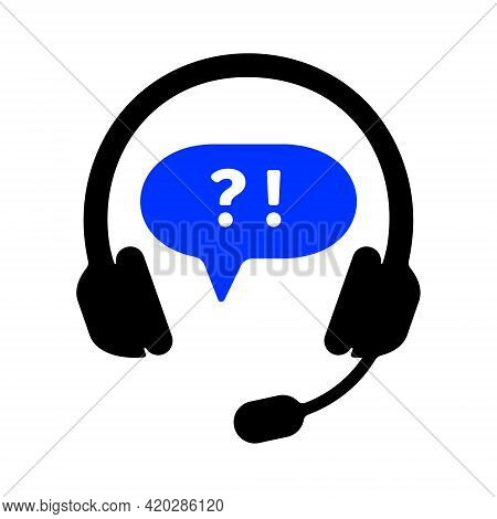 Customer Support Sign With Headphones, Exclamation Point And Question Mark Isolated On White Backgro