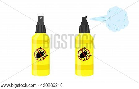 Mite Spray Icons. Repellent Insect Bottles With Anti Tick Sign Isolated On White Background. Vector