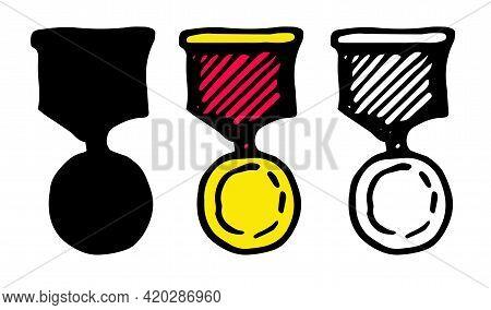 Set For Celebration Decoration Design. Vector Sketch Illustration.vector Set Of Gold Medal With Red