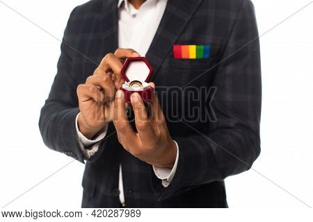 Cropped View Of African American Man With Handkerchief In Lgbt Colors Showing Wedding Ring Isolated