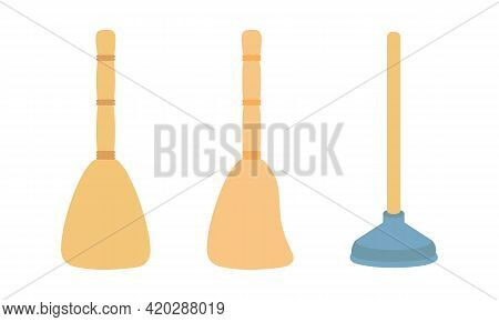 Flat Brooms And Plunger For Cleaning. Simple Straw Broom For Cleaning Dust And Dirt. Plunger For Sew