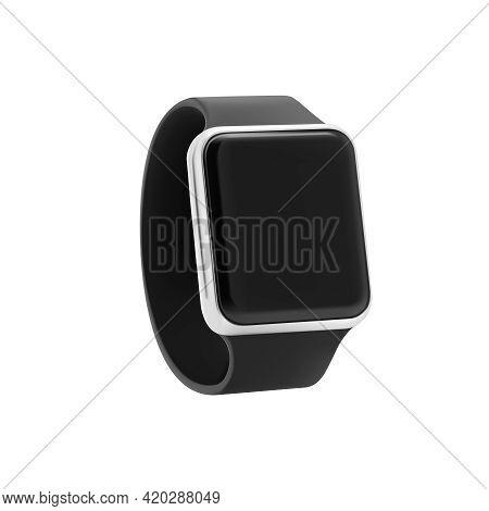Digital Smart Watch. Led Screen Electronic Stopwatch. Vector Realistic Sports Black Handwatch Clock,