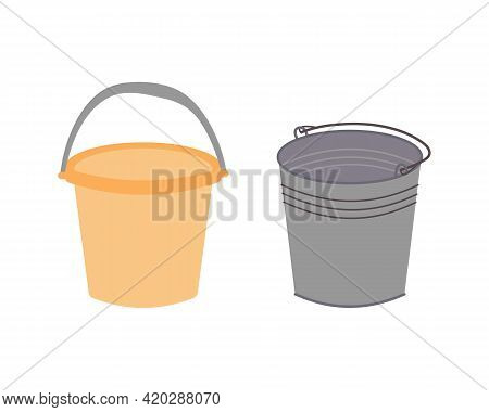 Two Different Buckets For Cleaning. Washing Floor Pail. Plastic Orange Water Bucket And Metal Galvan