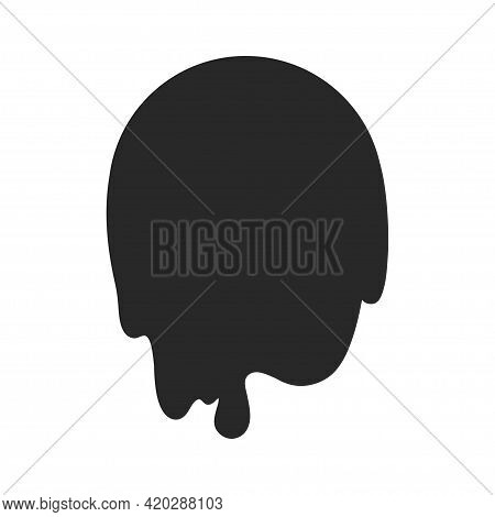 Abstract Slime Element. Geometric Slimed Object On Isolated Background. Black And White Illustration