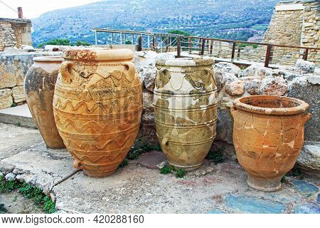 Heraklion, Knossos, Crete, Greece - October 20, 2018:  Storehouse Jars Or Pithoi In The South Propyl