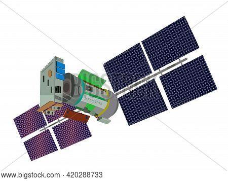 Satellite Isolated. Satellite Isolated On White Background Illustration. Illustration Of A Satellite