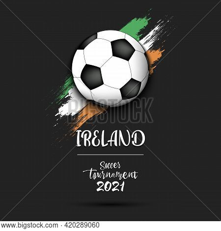 Soccer Ball On The Flag Of Ireland