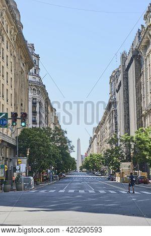 Buenos Aires, Argentina; Jan 24, 2021: Roque Saenz Pena Avenue Or Diagonal Norte, An Important Downt