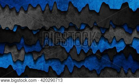 Grunge wavy corporate blue and black abstract background