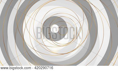 Golden round outline pattern on black and grey background