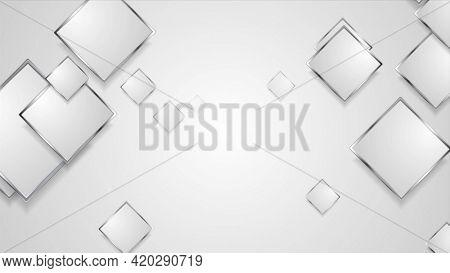 Hi-tech geometric design with silver squares