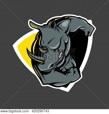 Ramming Rhino Insignia Vector Illustration For E-sport, T-shirt Print, Poster, Design Element Or Any