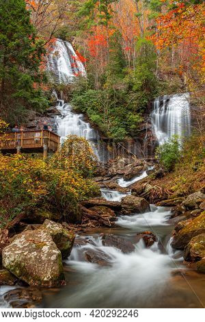 Anna Ruby Falls, Georgia, USA in autumn season.