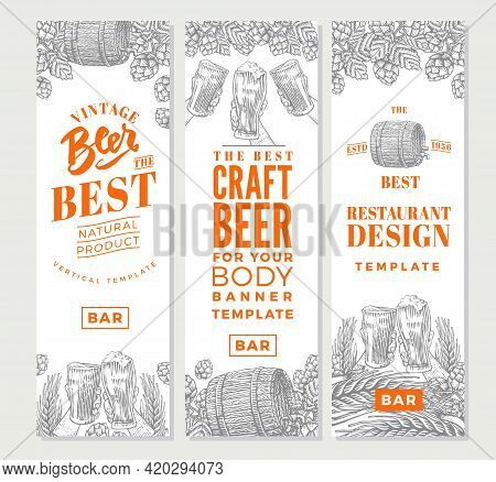 Brewing Vertical Banners With Beer Products Glasses Mugs Barrels And Hops In Engraving Style Vector