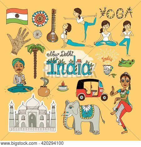 Collection Of Hand-drawn India Landmarks With The Flag  Dancer  Yoga Poses  Snake Charmer  Tuc Tuc