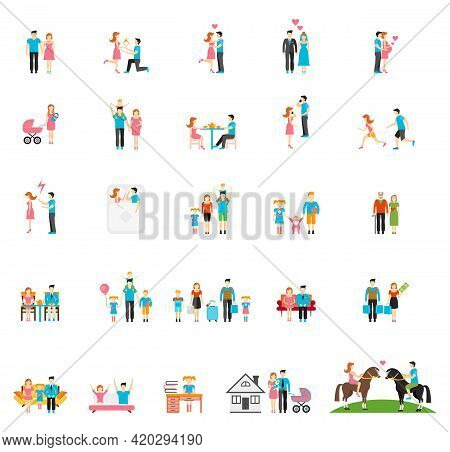 Couple And Family Flat Figures. People Child Girl Daddy Brother Infant Daughter Sister Mom. Vector I