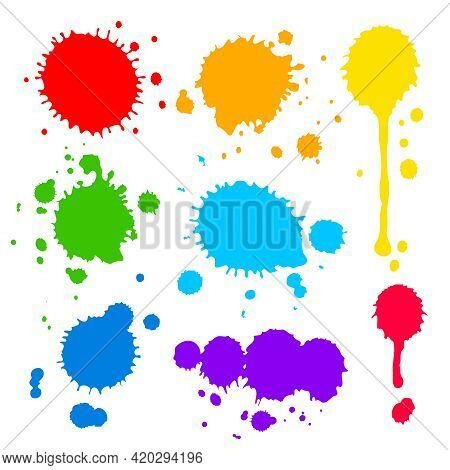 Collection Of Splats  Splashes And Blobs Of Brightly Colored Paint In A Rainbow Palette In Different