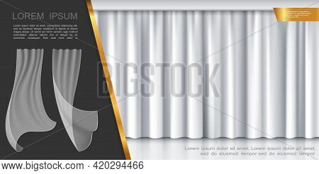 Closed Stage White Curtains Concept With Transparent Fluttering Drapery In Realistic Style Vector Il