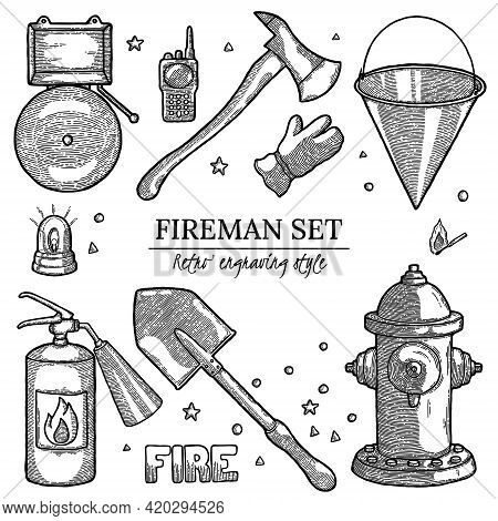 Black And White Firefighting Vintage Elements Background With Empty Copyspace. Label With Design Tem