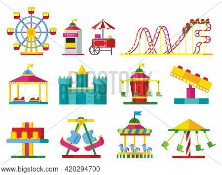Colorful Attractions Collection With Ferris Wheel Roller Coaster Scary Castle Ticket Window And Diff