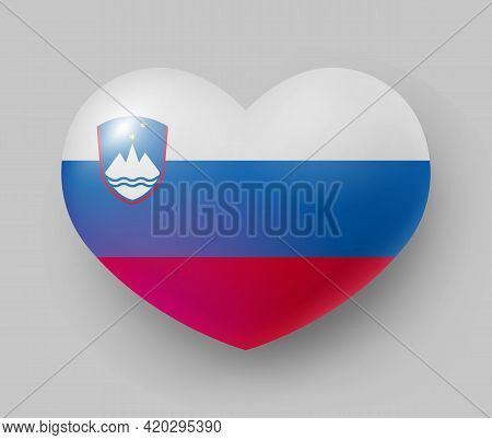 Heart Shaped Glossy National Flag Of Slovenia. European Country National Flag Button, Slovenian Symb