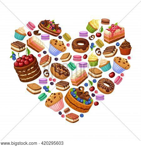 Colorful Sweet Products Concept With Cakes Desserts Cupcakes Macaroons Donuts And Berries In Heart S
