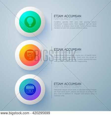 Business Design Concept With Three Futuristic Round Buttons And Infographic Pictograms With Descript