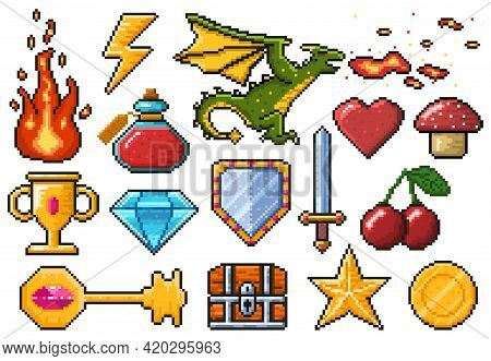 Pixel Game Elements. Games Ui Magic Items, Fire, Trophy, Coin, Dragon And Poison Vector Illustration