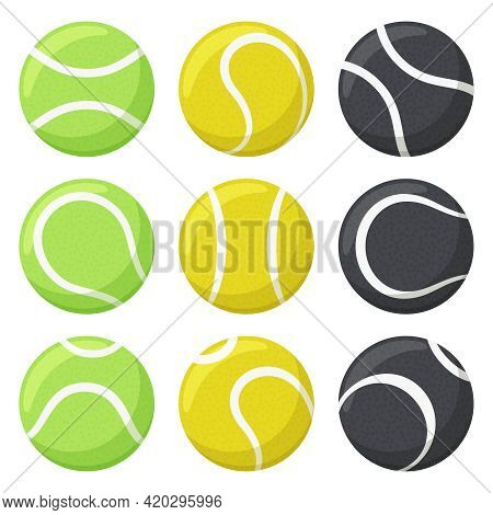 Tennis Balls. Sport, Fitness Equipment, Black, Yellow And Green Tennis Balls In Various Angles Vecto