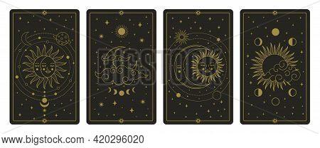 Moon And Sun Tarot Cards. Mystical Hand Drawn Celestial Bodies Cards, Magic Tarot Card Vector Illust