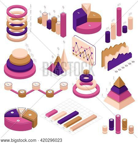 Infographic Isometric Elements. Data Statistics 3d Diagram Infographic Charts Isolated Vector Illust